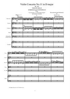 La stravaganza. Twelve Violin Concertos, Op.4: Violin Concerto No.11 in D Major – score, parts, RV 204 by Антонио Вивальди