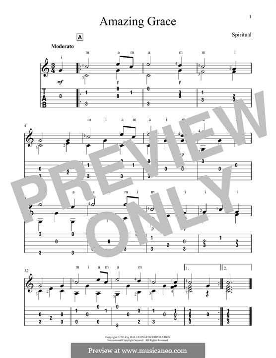 Amazing Grace (Printable Scores): Гитарная табулатура by folklore