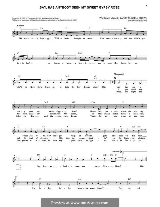 Say, Has Anybody Seen My Sweet Gypsy Rose? (Tony Orlando): Мелодия by Irwin Levine, L. Russell Brown