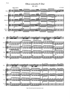 Concerto for Oboe and Strings in F Major, RV 455: Score and parts by Антонио Вивальди