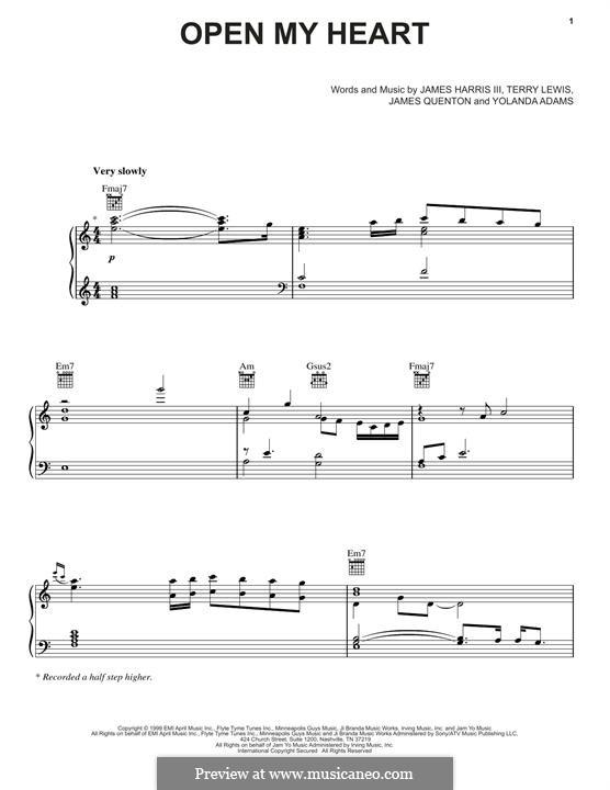 Open My Heart: Для голоса и фортепиано (или гитары) by James Samuel Harris III, Terry Lewis, Yolanda Adams, James Quenton