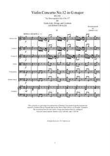 La stravaganza. Twelve Violin Concertos, Op.4: Violin Concerto No.12 in G Major – score, parts, RV 298 by Антонио Вивальди