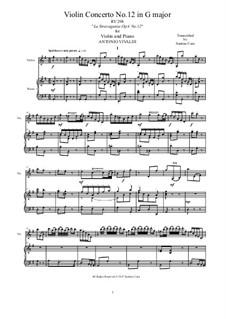La stravaganza. Twelve Violin Concertos, Op.4: Violin Concerto No.12 in G Major. Arrangement for violin and piano, RV 298 by Антонио Вивальди