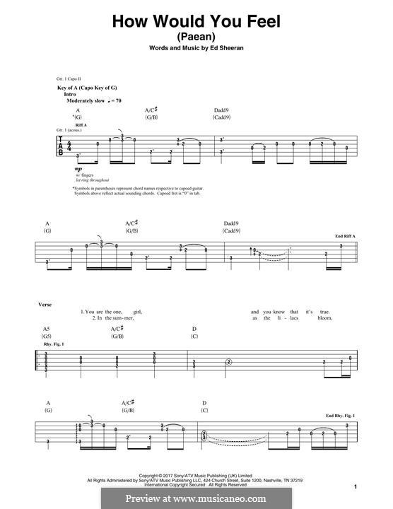 How Would You Feel (Paean): Гитарная табулатура by Ed Sheeran