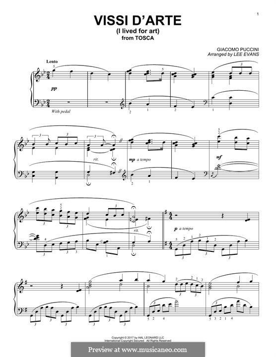 Тоска: Vissi d'arte, for piano by Джакомо Пуччини