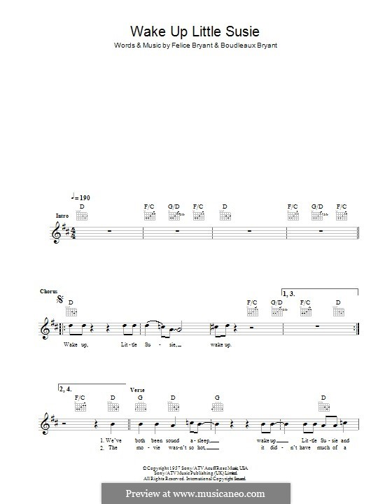 Wake Up Little Susie (The Everly Brothers): Текст, аккорды by Boudleaux Bryant, Felice Bryant