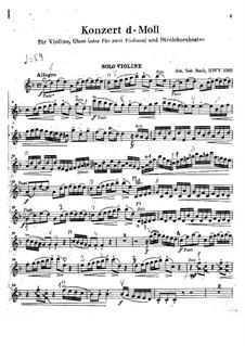 Концерт для скрипки, гобоя и струнных No.1 до минор, BWV 1060r: Партия скрипки by Иоганн Себастьян Бах
