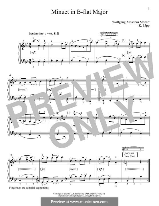 Minuet in B Flat Major, K.15pp: Minuet in B Flat Major by Вольфганг Амадей Моцарт