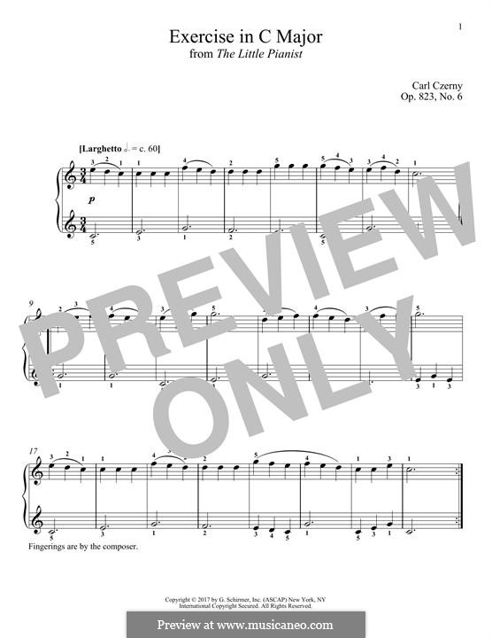 Маленький пианист, Op.823: Этюд No.6 by Карл Черни