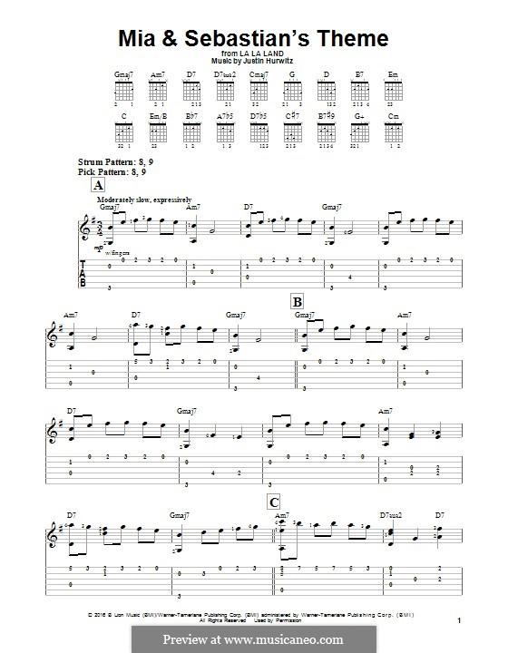 Mia and Sebastian's Theme (from La La Land): Гитарная табулатура by Justin Hurwitz