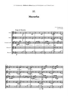 No.10 Мазурка: For woodwind quintet by Петр Чайковский