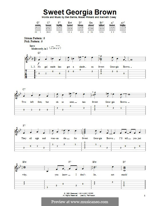 Sweet Georgia Brown: Гитарная табулатура by Maceo Pinkard, Kenneth Casey