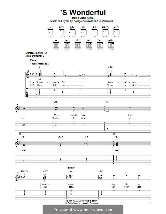 'S Wonderful: Гитарная табулатура by Джордж Гершвин