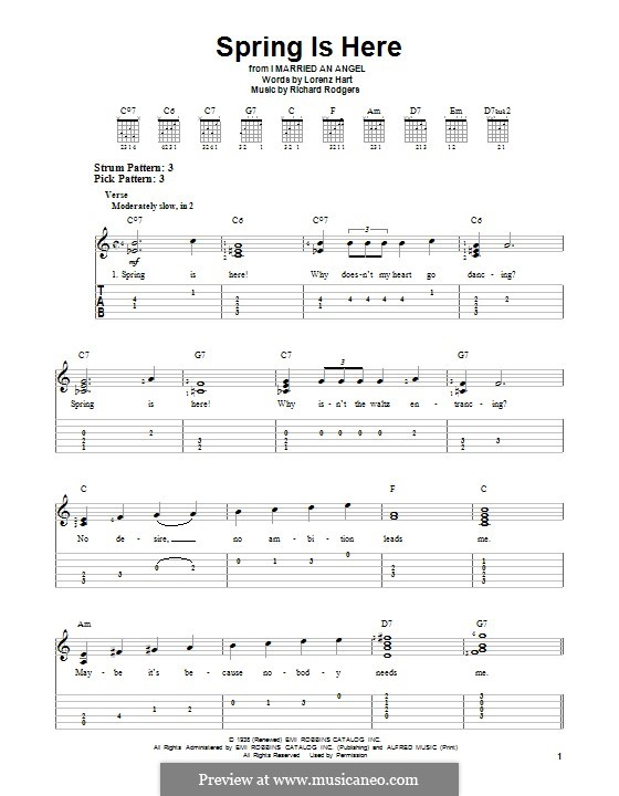 Spring is Here: Гитарная табулатура by Richard Rodgers