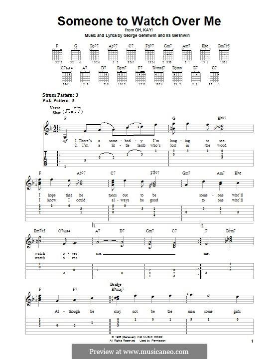 Someone To Watch Over Me (from Oh, Kay!): Гитарная табулатура by Джордж Гершвин