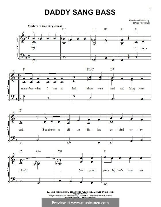Daddy Sang Bass (Johnny Cash): Для фортепиано by Carl Lee Perkins