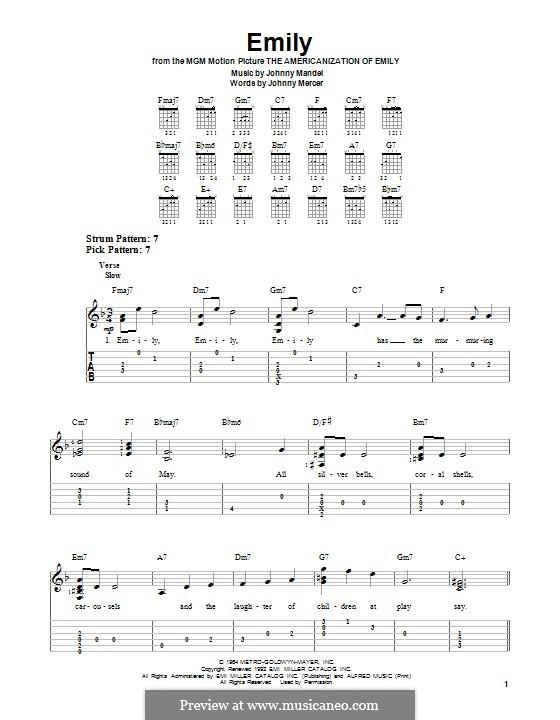 Emily (from The Americanization of Emily): Гитарная табулатура by Johnny Mandel