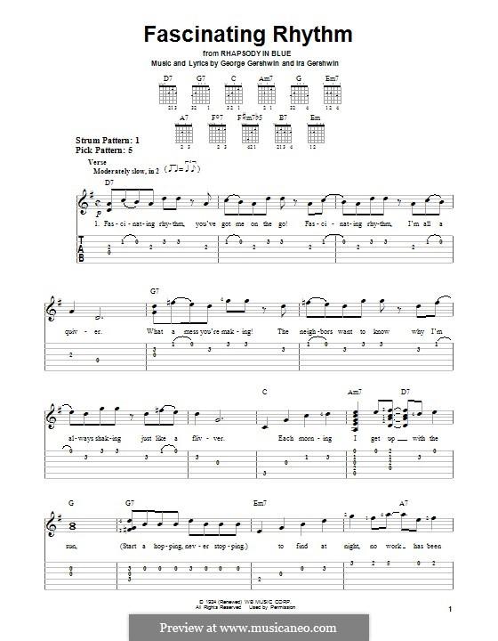 Fascinating Rhythm: Гитарная табулатура by Джордж Гершвин