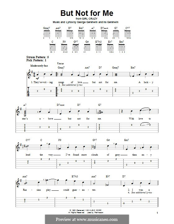 But not for Me: Гитарная табулатура by Джордж Гершвин