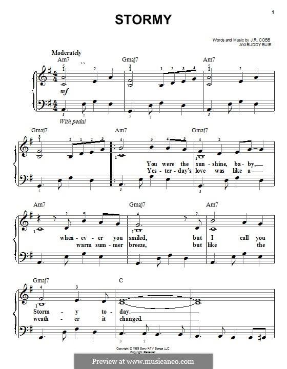 Stormy (Classics IV): Для фортепиано by Buddy Buie, J.R. Cobb