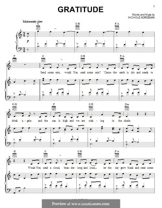 Gratitude: Для голоса и фортепиано (или гитары) by Nichole Nordeman