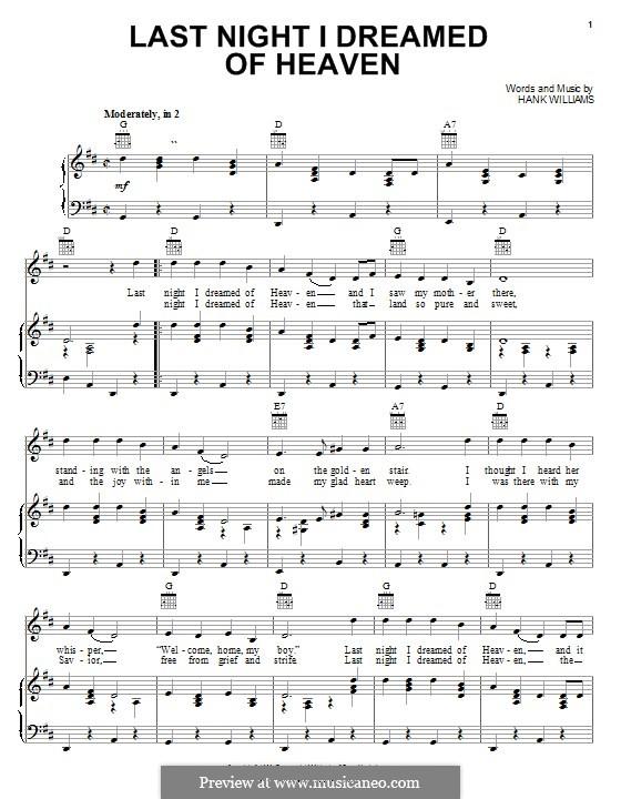 Last Night I Dreamed of Heaven: Для голоса и фортепиано (или гитары) by Hank Williams