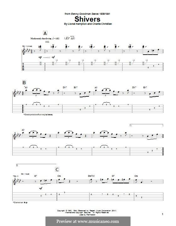 Shivers: Гитарная табулатура by Charlie Christian, Lionel Hampton