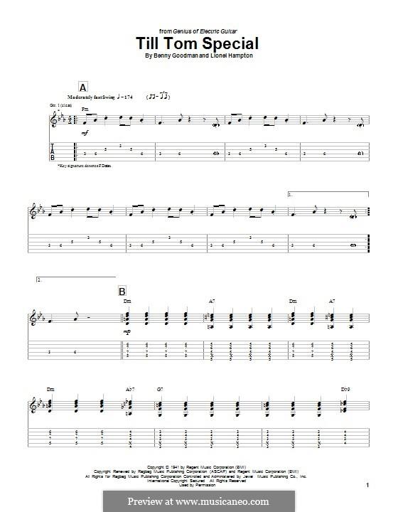 Till Tom Special: Гитарная табулатура by Benny Goodman, Lionel Hampton