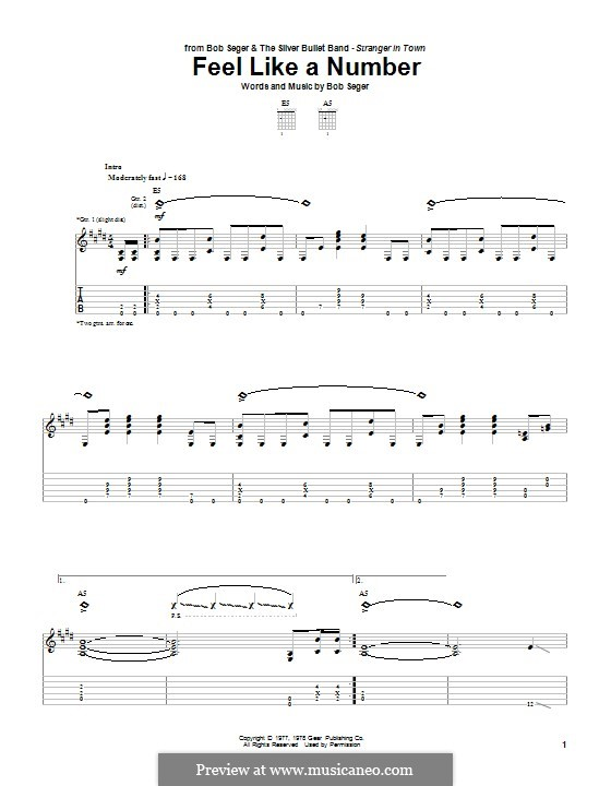 Feel Like a Number: Гитарная табулатура by Bob Seger
