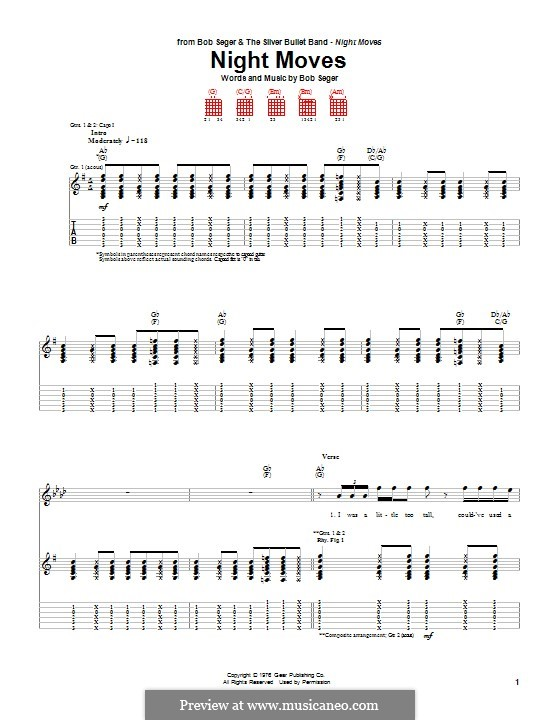 Night Moves: Гитарная табулатура by Bob Seger
