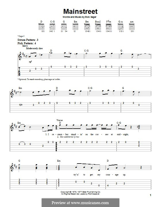 Mainstreet: Гитарная табулатура by Bob Seger