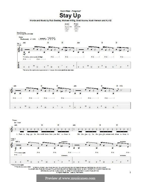 Stay Up (Pillar): Гитарная табулатура by Rob Beckley, Brad Noone, Michael Wittig