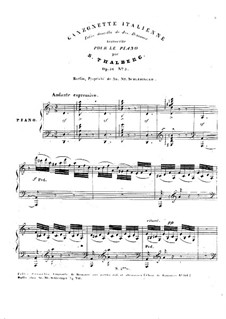 Six Pieces, Op.36: No.5 Canzonette italienne by Сигизмунд Тальберг