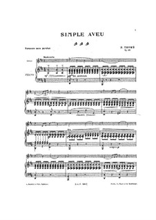 Simple Confession, Op.25: For cello and piano – score and solo part by Франсис Томе
