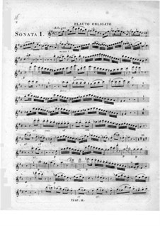 Три сонаты для фортепиано, флейты и виолончели: Партия флейты by Иоганн Андреас Амон