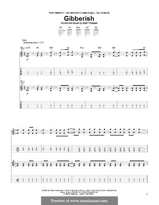 Gibberish (Relient K): Гитарная табулатура by Matt Thiessen