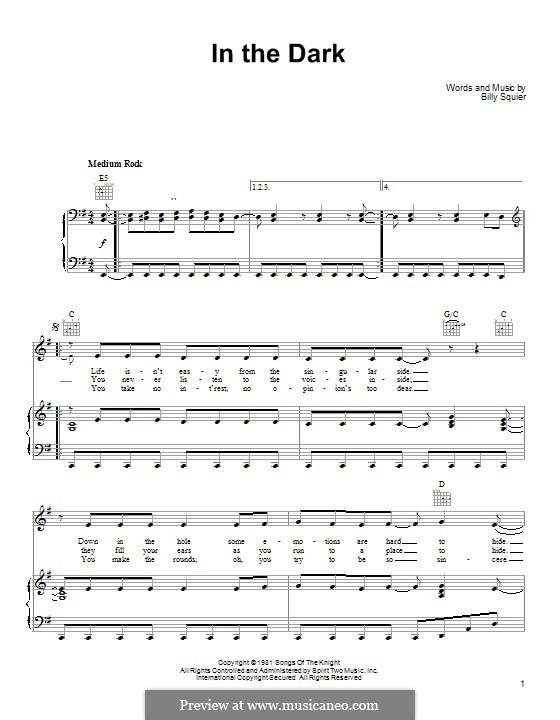 In the Dark: Для голоса и фортепиано (или гитары) by Billy Squier