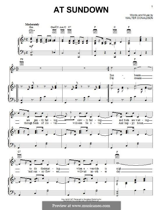 At Sundown: Для голоса и фортепиано (или гитары) by Уолтер Дональдсон