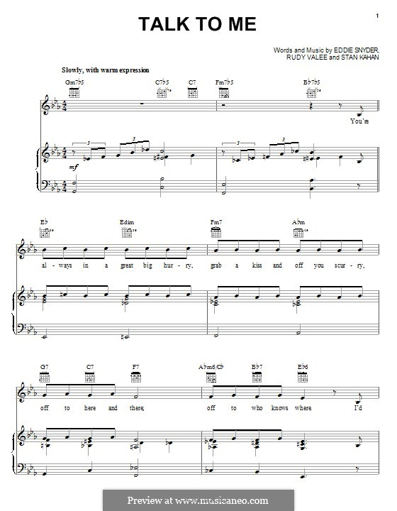 Talk To Me: Для голоса и фортепиано (или гитары) by Eddie Snyder, Rudy Valee, Stan Kahan