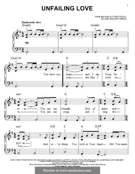 Unfailing Love: Для фортепиано by Chris Tomlin, Ed Cash, Cary Pierce