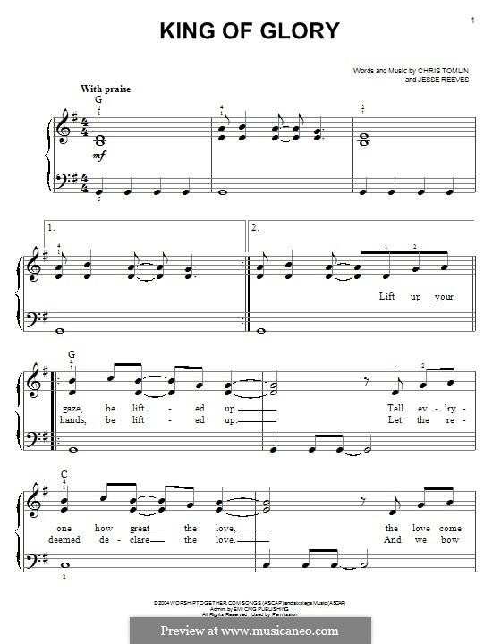 King of Glory: Для фортепиано by Chris Tomlin, Jesse Reeves