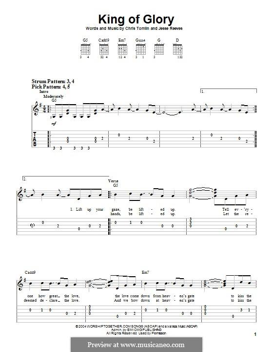 King of Glory: Гитарная табулатура by Chris Tomlin, Jesse Reeves