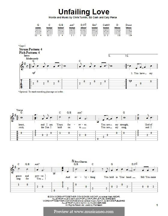 Unfailing Love: Гитарная табулатура by Chris Tomlin, Ed Cash, Cary Pierce