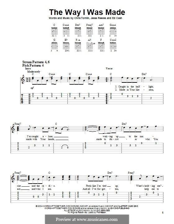 The Way I Was Made: Гитарная табулатура by Chris Tomlin, Ed Cash, Jesse Reeves