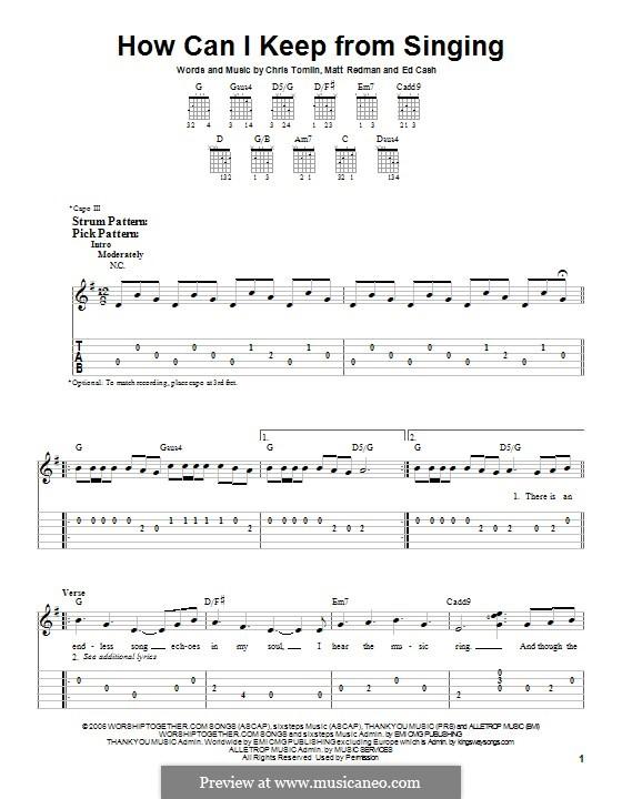 How Can I Keep from Singing: Гитарная табулатура by Chris Tomlin, Ed Cash, Matt Redman