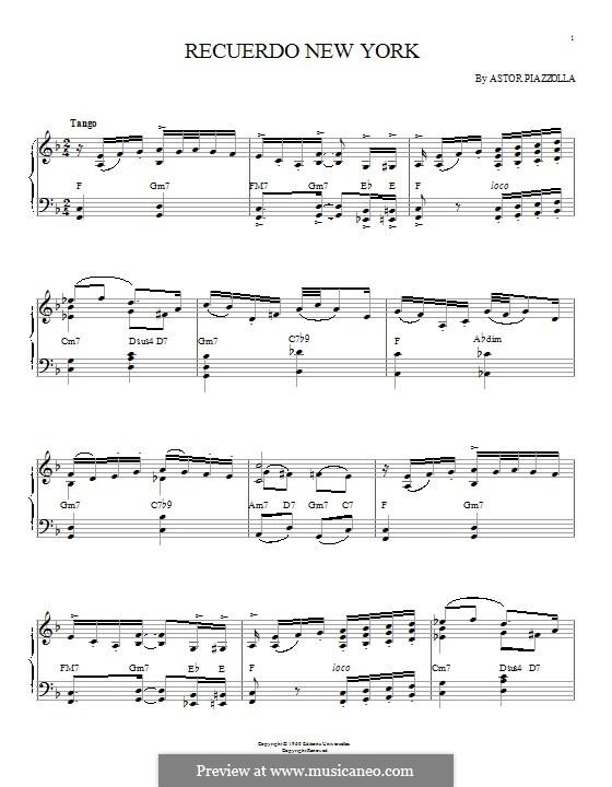 Recuerdo New York: Для фортепиано by Астор Пьяццолла