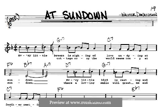 At Sundown: For any instrument by Уолтер Дональдсон