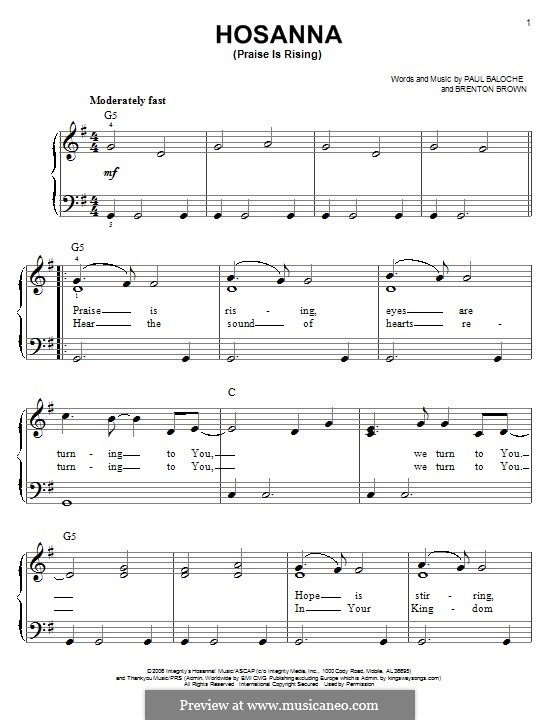 Hosanna (Praise is Rising): Для фортепиано by Paul Baloche, Brenton Brown