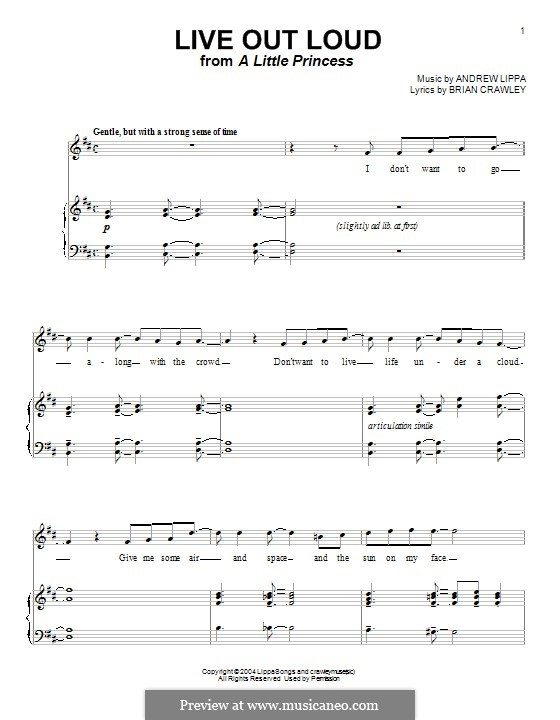 Live Out Loud: Для голоса и фортепиано (или гитары) by Andrew Lippa