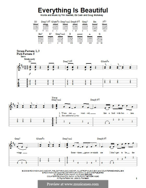 Everything is Beautiful (Starfield): Гитарная табулатура by Doug McKelvey, Ed Cash, Tim Neufeld